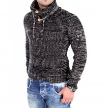 Tazzio Strickpullover Herren Buttoned High Neck...