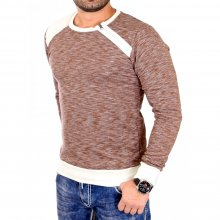 Tazzio Sweatshirt Herren Slim Fit Melange Look Side Zip...