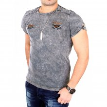 Tazzio T-Shirt Herren Rundhals Vintage Washed Look Shirt...