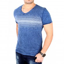 Tazzio T-Shirt Herren Slim Fit V-Neck Vintage Print Shirt...