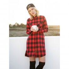 Urban Classics Damen Kleid Checked Flanell Shirt Dress...
