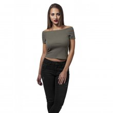 Urban Classics T-Shirt Damen Off Shoulder Rib Trägerloses...