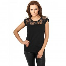 Urban Classics T-Shirt Damen Top Laces Spitzenstoff...