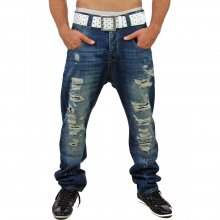 VSCT Herren Low Crotch Destroyed Look Jeans Hose V-0200 Blau