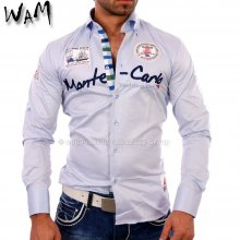 WAM WM-555 Designer VIP Club Party Hemd hell-blau