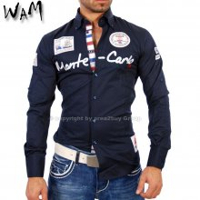 WAM WM-555 Designer VIP Club Party Hemd navy blau