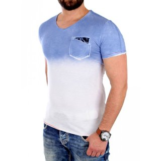 Carisma T-Shirt Herren Two Tone Look V-Neck Kurzarm Shirt CRSM-4331