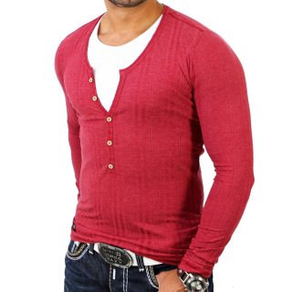 Cipo & Baxx C-5293 Layer Style V-Neck Longsleeve Shirt Bordeaux