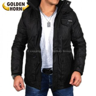 Golden Horn GH-6504 Kapuzen-Jacke Winter Mantel , schwarz