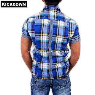 Kickdown K-005 Kurzarm Party Club Karo Hemd Blau