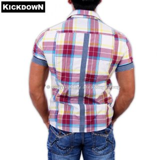 Kickdown K-005 Kurzarm Party Club Karo Hemd Rosa