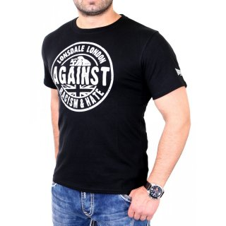 Lonsdale T-Shirt Herren AGAINST RACISM Regular Fit Shirt LD-111238 Schwarz