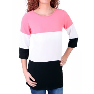 Madonna T-Shirt Damen QUEENDRESSA Colorblock Shirt 7/8 Ärmel MF-741145