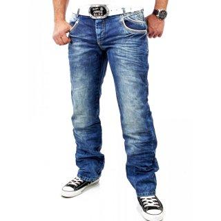 R-Neal Herren Used Look Kontrast Naht Jeans Hose RN-7443 Blau