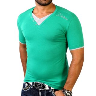 Redbridge R-1544 Layer Style V-Neck T-Shirt Grün