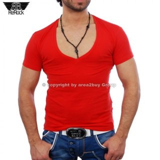 Rerock RR-1315 super wide Club House V-Neck T-Shirt , rot