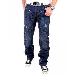 Reslad Jeans Herren Patchwork Art Used Look Regular Jeanshose RS-1001 Blau
