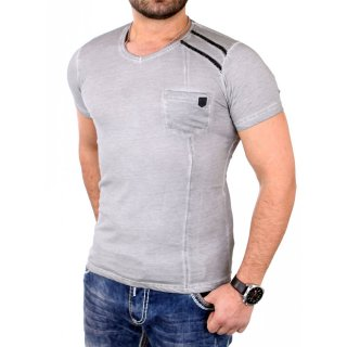 Reslad T-Shirt Herren Casual Vintage Look V-Neck Kurzarm Shirt RS-20006