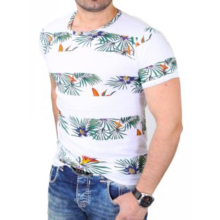 Reslad T-Shirt Herren Floral Stripes Design Rundhals Shirt RS-7666