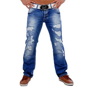 Rusty Neal Herren Jeans Straight Cut Destroyed Look RN-7443-1 Blau