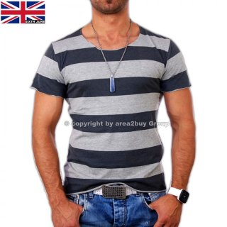Sixth June SC-773 Wide-Neck Stripes T-Shirt Grau