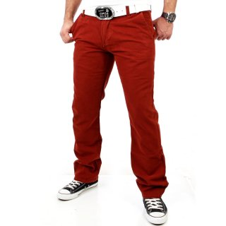 Tazzio Herren Colored Vintage Chino Jeans Hose TZ-5133 Rot