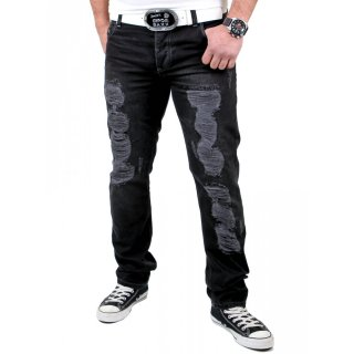 Tazzio Herren Jeans Dark Denim Destroyed Look Hose TZ-507 Schwarz