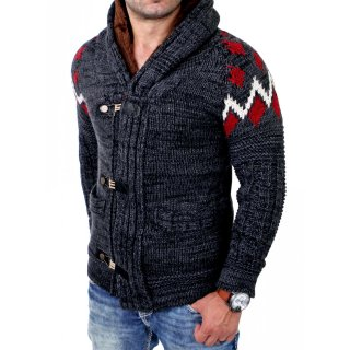 Tazzio Herren Strickjacke Winter Grobstrick Pullover mit Fellapplikation TZ-421