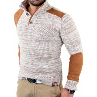 Tazzio Herren Velour-Patched Strickpullover Winter Pullover TZ-406