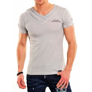 Tazzio T-Shirt Herren Zipped-V-Neck Authentic Style Shirt TZ-14109