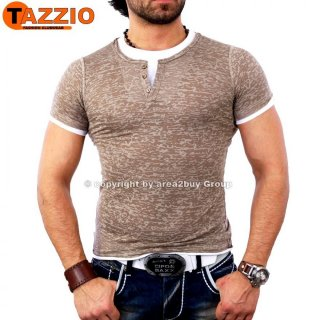 Tazzio TZ-2100 party Club Layer Style V-Neck T-shirt beige