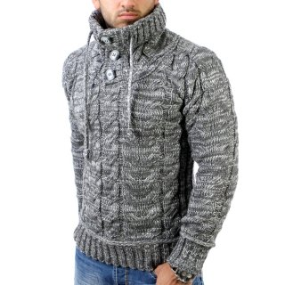 Tazzio TZ-3960 Grobstrick Huge Collar Winter Pullover Anthrazit