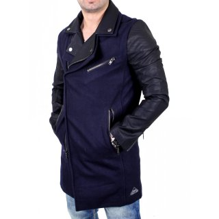VSCT Jacke Herren Customized Biker Woalcoat Mantel V-5800344 Navy