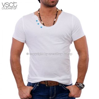 Vsct V-5640354 Big Neck Button Style T-shirt wei�
