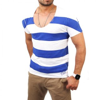 Vsct V-5640798 Wide O-Neck Lava Stripes T-Shirt Blau