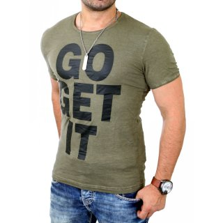 Young & Rich T-Shirt Herren GO GET IT mit Motiv Druck YR-1413