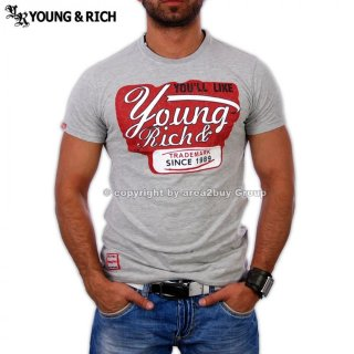 Young&Rich YR-7012 Party Club T-Shirt Grau