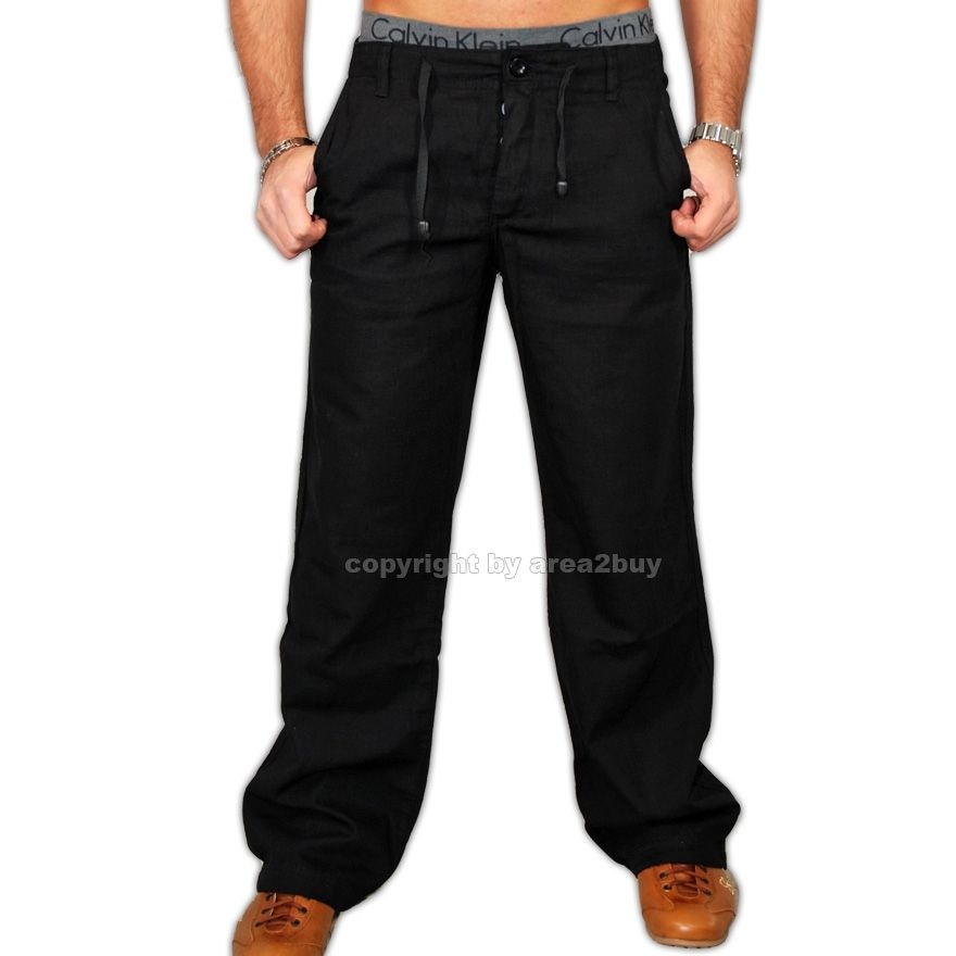 kickdown herren leinen freizeithose jogger hose k 1212 schwarz sale. Black Bedroom Furniture Sets. Home Design Ideas