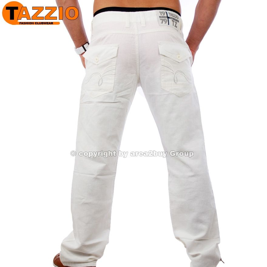 tazzio clubwear herren leinen style hose freizeithose wei. Black Bedroom Furniture Sets. Home Design Ideas