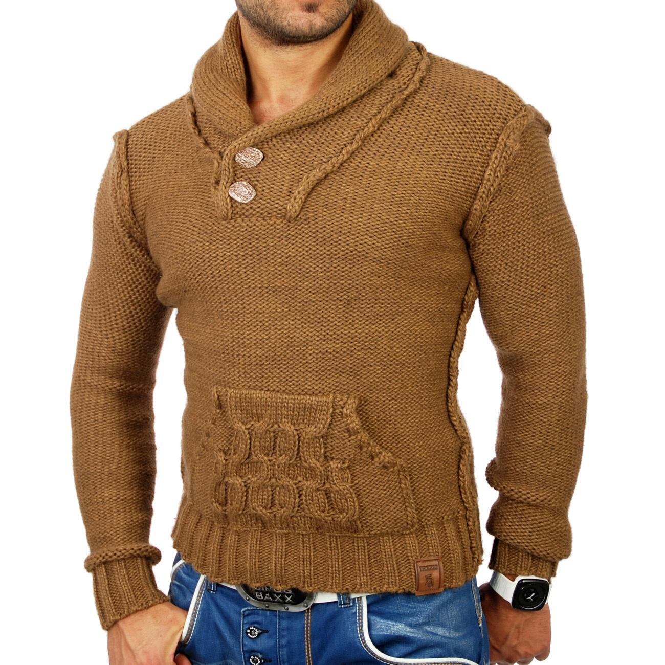tazzio herren pullover grobstrick sweatshirt strickjacke jacke tz 3565 camel ebay. Black Bedroom Furniture Sets. Home Design Ideas