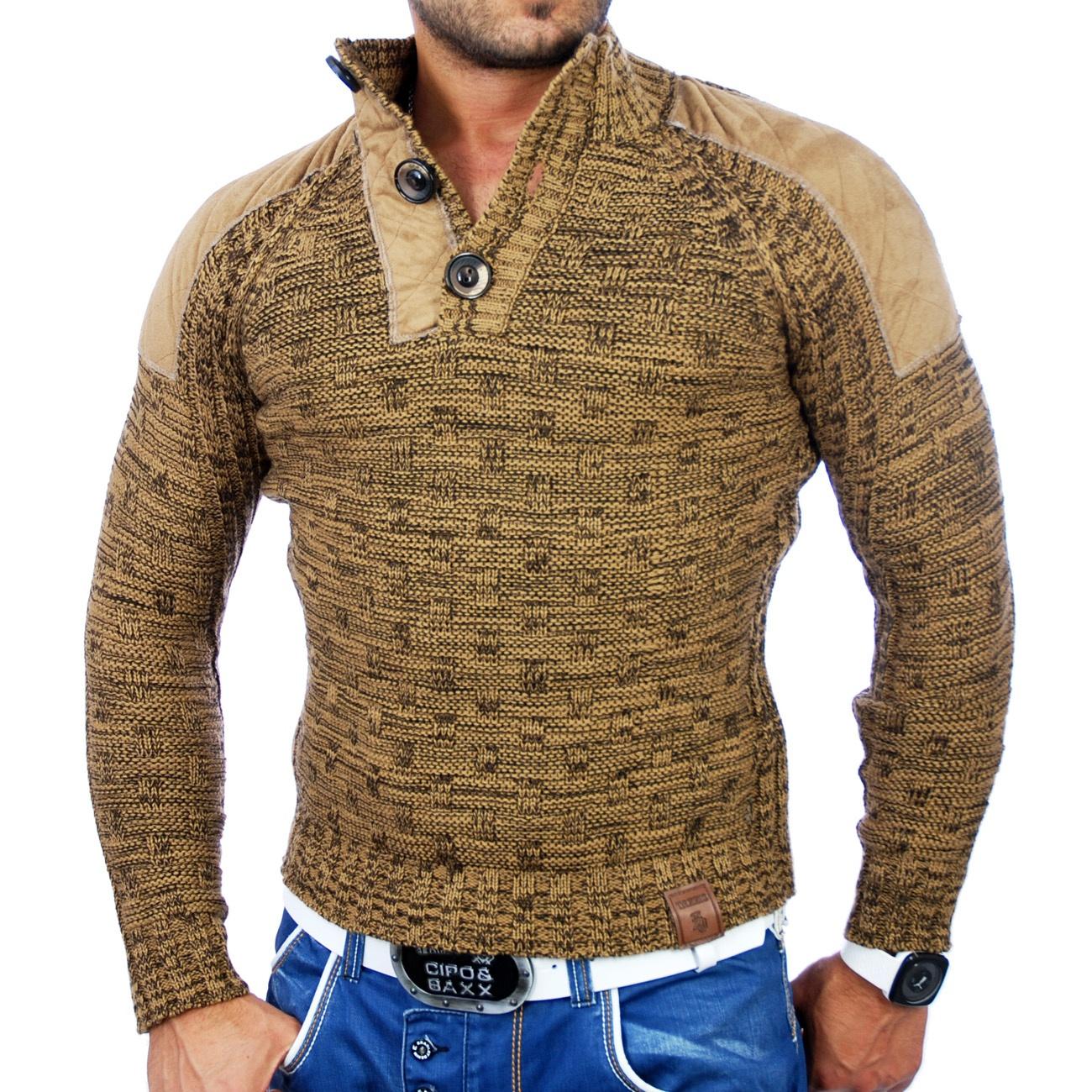 tazzio herren pullover grobstrick sweatshirt strickjacke jacke tz 3570 camel ebay. Black Bedroom Furniture Sets. Home Design Ideas