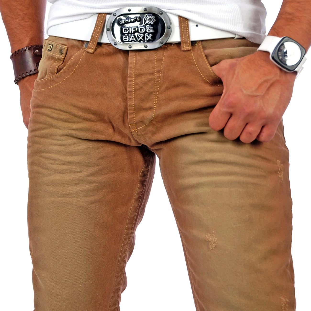 tazzio herren jeanshose jeans hose vintage style naht tz 5124 braun neu ebay. Black Bedroom Furniture Sets. Home Design Ideas
