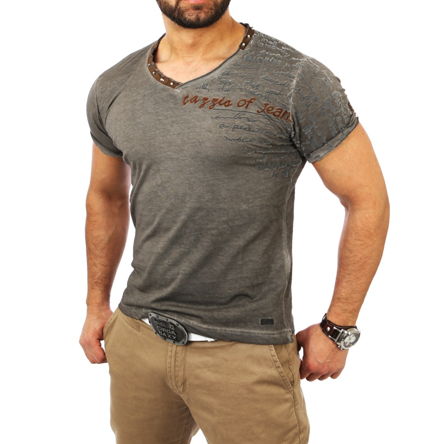 tazzio clubwear batik herren t shirt polo hemd nieten style tz 4052 anthraz neu ebay. Black Bedroom Furniture Sets. Home Design Ideas