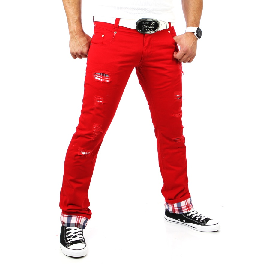 rerock skinny karo herren chinohose jeans hose chino hose rr 3355 rot ebay. Black Bedroom Furniture Sets. Home Design Ideas