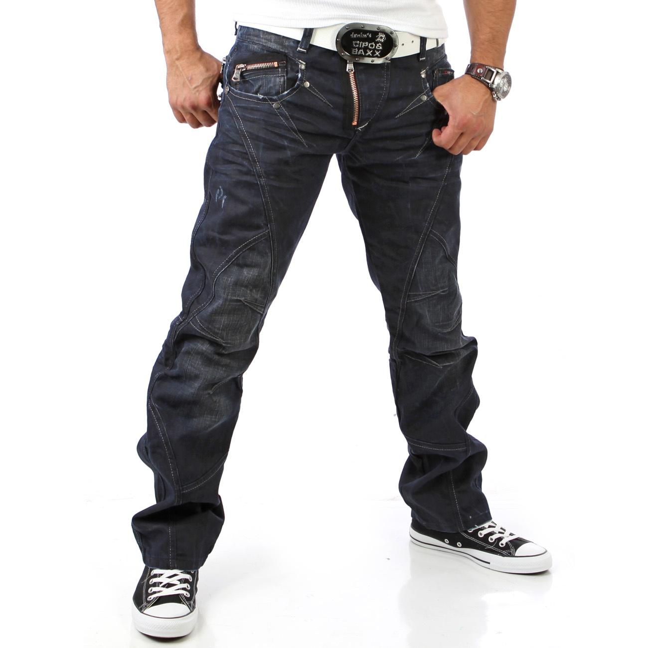 cipo baxx original denim herren jeanshose jeans hose zipper blau c 645 d blau ebay. Black Bedroom Furniture Sets. Home Design Ideas