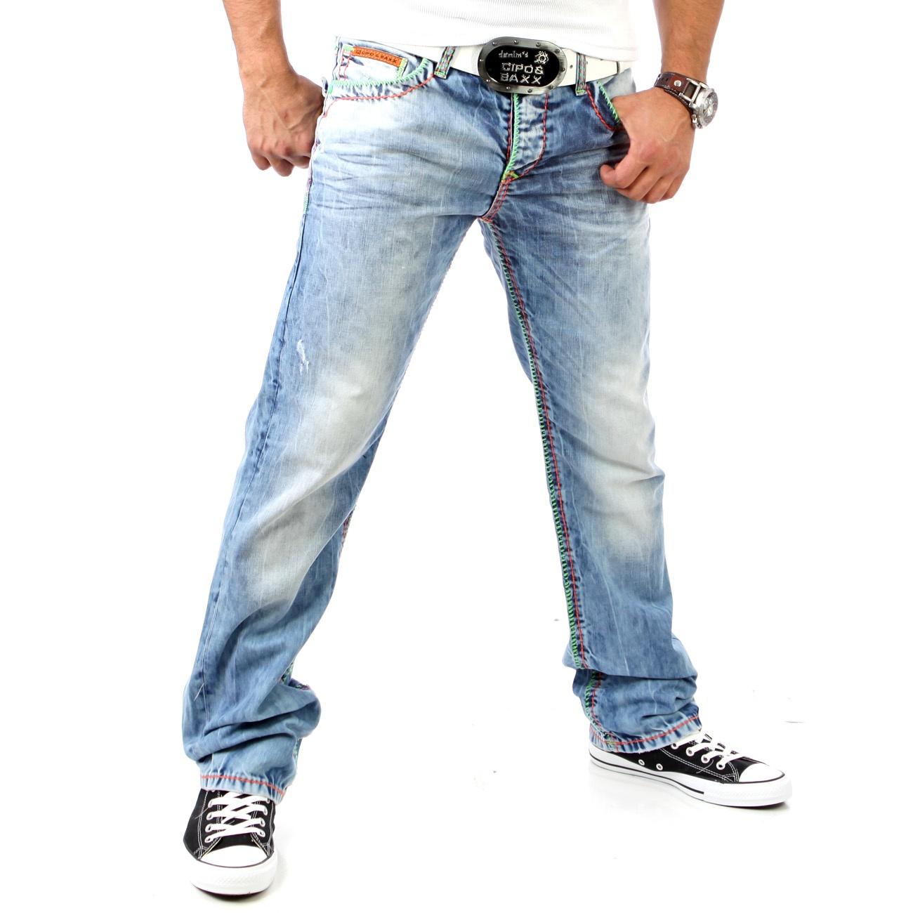 cipo baxx original denim herren jeanshose jeans hose neon naht c 925 h blau ebay. Black Bedroom Furniture Sets. Home Design Ideas