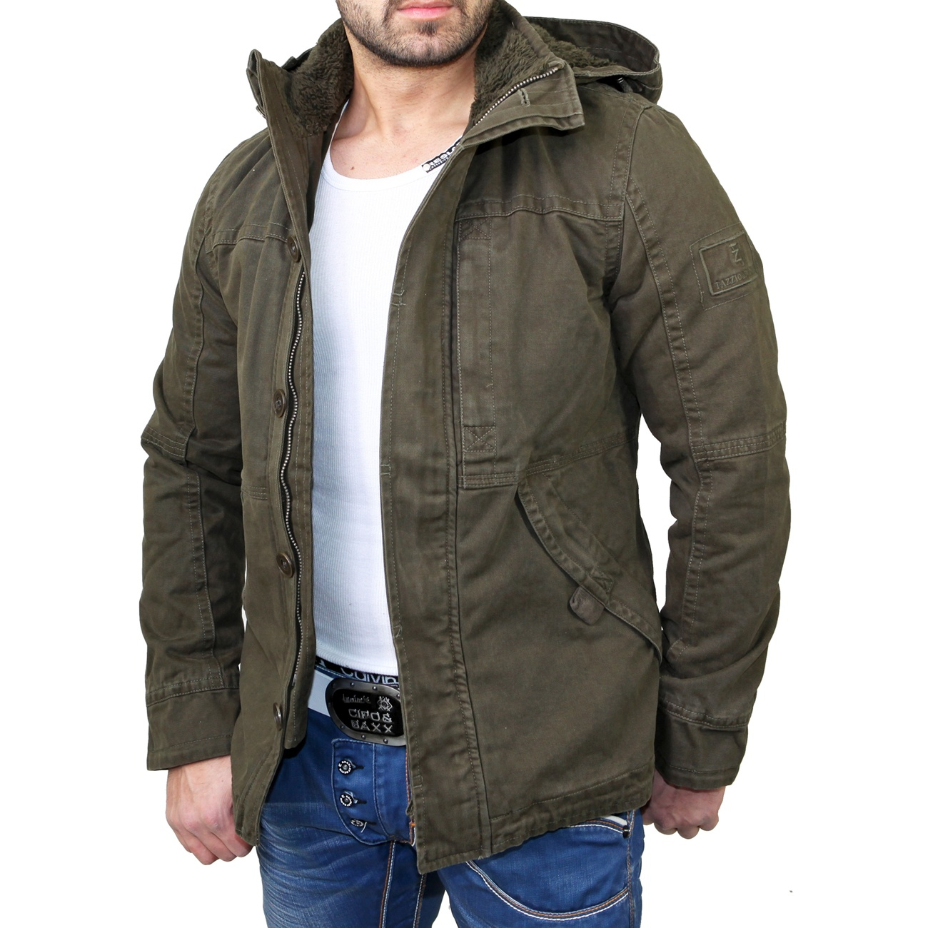 tazzio kapuzen jacke warme herren winter jacke tz 7001 army gr n neu ebay. Black Bedroom Furniture Sets. Home Design Ideas