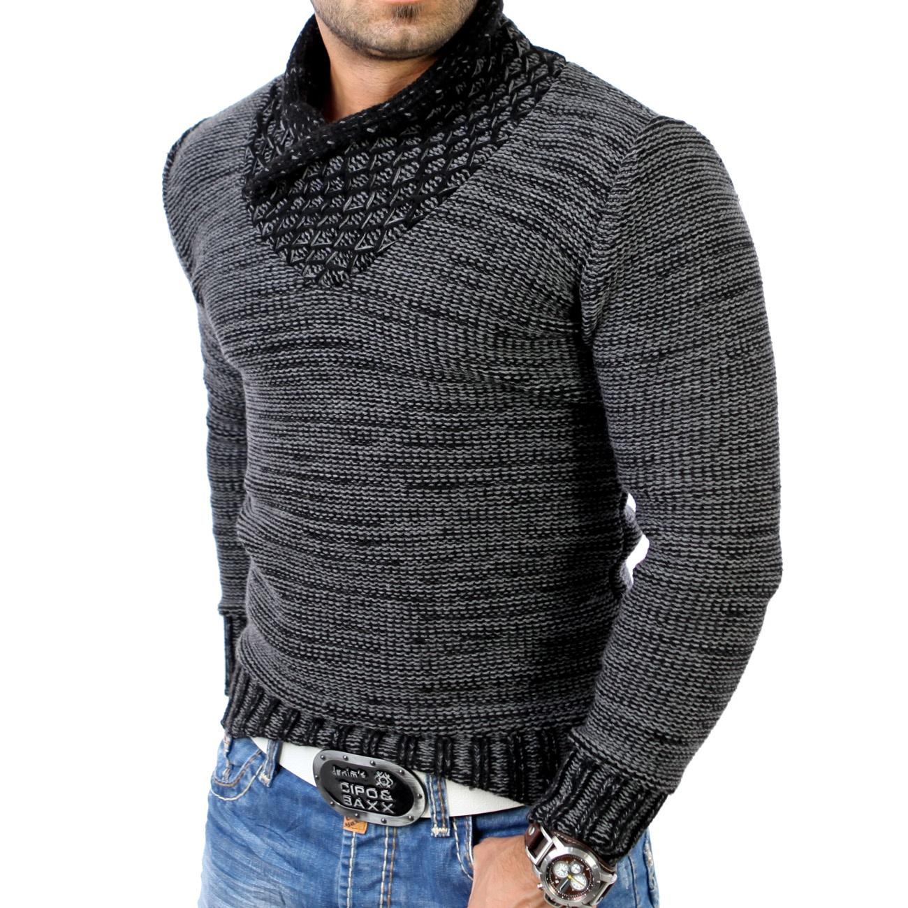 tazzio herren pullover grobstrick sweatshirt strickjacke jacke 3978 anthrazit ebay. Black Bedroom Furniture Sets. Home Design Ideas