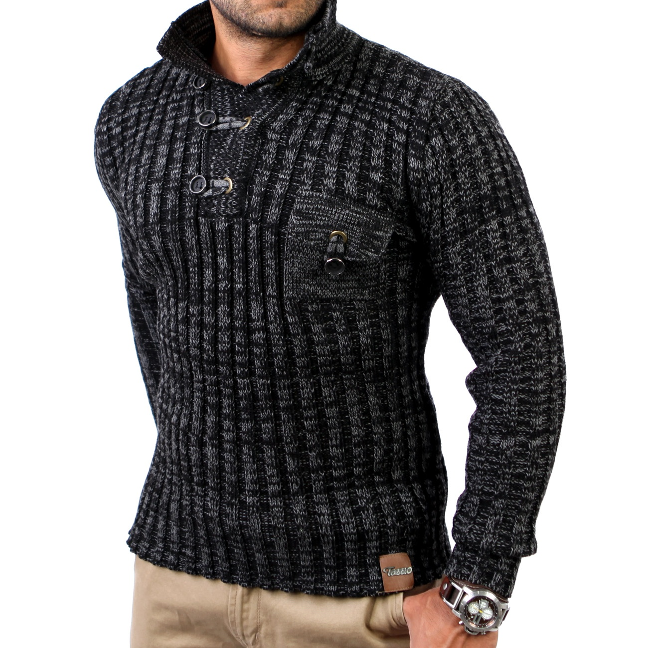tazzio herren pullover grobstrick pulli sweatshirt strickjacke tz 3560 schwarz ebay. Black Bedroom Furniture Sets. Home Design Ideas