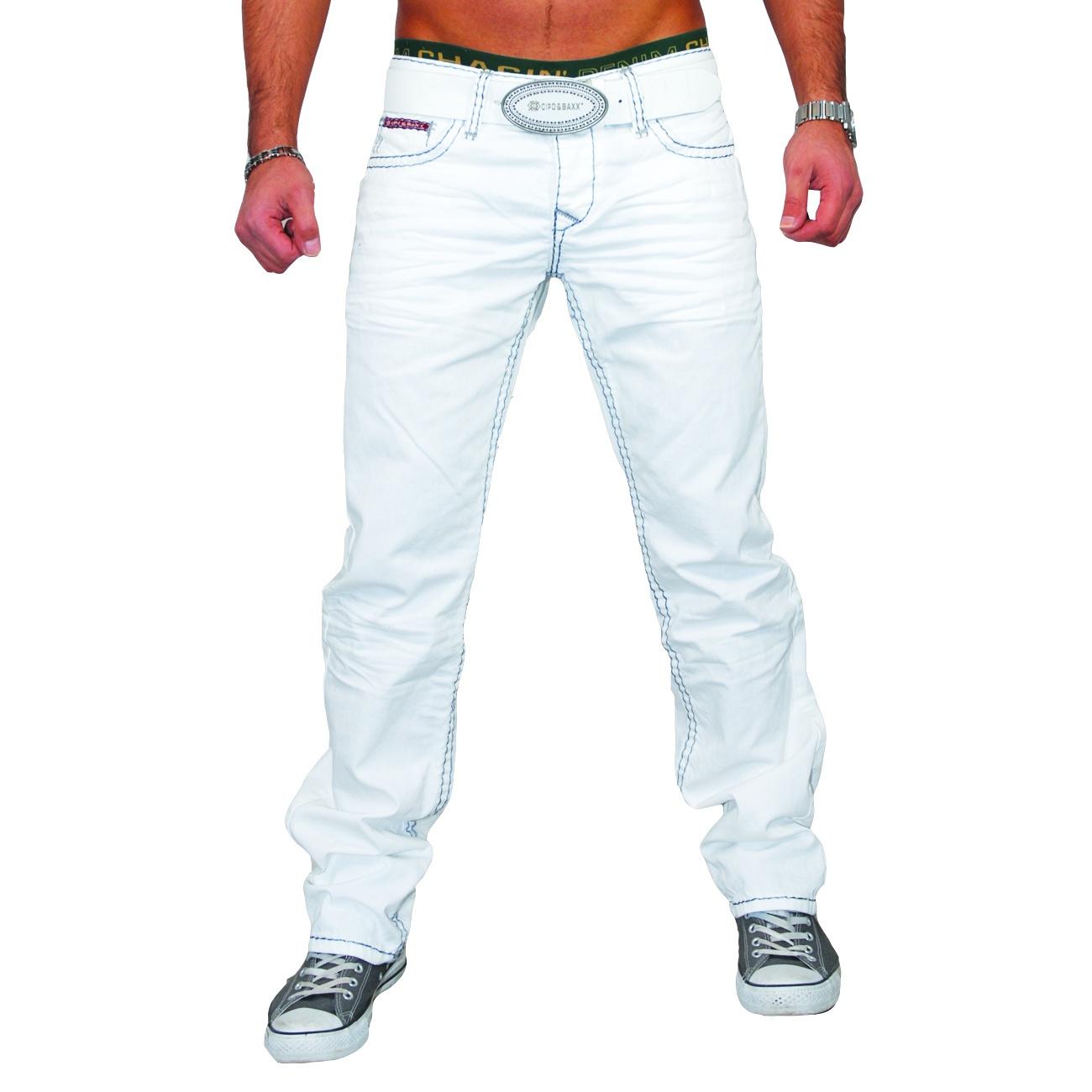 cipo baxx denim herren club dicke naht style jeans hose wei c 701 neu ebay. Black Bedroom Furniture Sets. Home Design Ideas